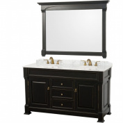 Wyhdham Collection WCVTD60BLCW Andover Antique Black White Carrera Marble Top with White Undermount Sinks