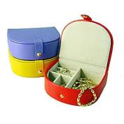 Budd Leather 541010-16 Small Bowed Front Leather Jewel Box - Yellow