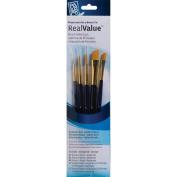 Real Value Brush Set Synthetic Gold Taklong-Rnd 2,4,liner 2/0,shader 2,6,ang 1/4,3/4