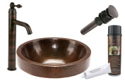Premier Copper Products BSP1_VR17SKDB Round Skirted Vessel Hammered Copper Sink with Single Handle Vessel Faucet, Oil Rubbed Bronze