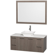 Wyndham Collection Amare 120cm Single Bathroom Vanity in Grey Oak with White Man-Made Stone Top with White Porcelain Sink, and 120cm Mirror