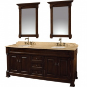 Wyhdham Collection WCVTD72DCHIV Andover Dark Cherry with Ivory Marble Top with White Undermount Sinks