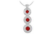FineJewelryVault UBPD2587W14DR-101 Ruby and Diamond Pendant : 14 White Gold - 1.25 CT TGW