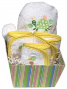 Dee Givens & Co-Raindrops 82510 Yellow Turtle Bubbles n Stripes Wash Cloth Gift Set - Yellow - 23cm . x 23cm .