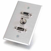 C2G 41034 SINGLE GANG HDMI HD15 VGA AND 3.5MM WALL PLATE - BRUSHED ALUMINUM
