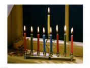 PVT/Superstock SAL2911871A Close-up of a menorah with burning candles and a Star of David -24 x 18- Poster Print