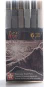 Sakura Koi Colouring Brush Set, 6 Grey Colour Set