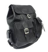 Piel 9726-BLK Black Large Buckle-Flap Backpack