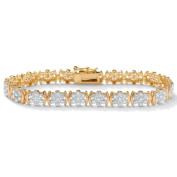 PalmBeach Jewelry 45039 1/4 TCW Round Diamond Flower-Link 18k Yellow Gold Over Sterling Silver Tennis Bracelet 7 1/4