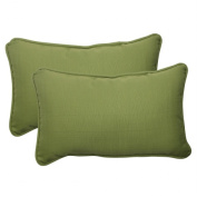 Pillow Perfect 505954 Outdoor Forsyth Corded Rectangular Throw Pillow in Green - Set of 2 - Green