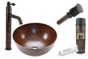 Premier Copper Products BSP1-VR15BDB 15 in. Circular Vessel Sink with Tru Vessel Faucet