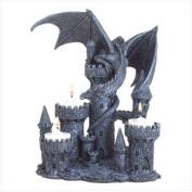 SWM 37960 7 1/2 L x 5 1/8 W x 9 1/4 H Dragon candle holder - Polyresin