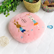 Blancho Bedding HT-CB002-31.5by43.3 Sugar Rabbit - Round Pink02 Blanket Pillow Cushion / Travel Pillow Blanket