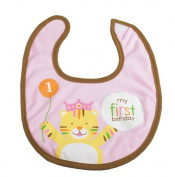 Creative Converting 201294 Sweet Safari Pink 1st Birthday Fabric Bib
