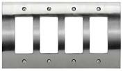Atlas Homewares PHPQR Rocker Switch Zephyr Switch Plates Quadruple ;Brushed Nickel