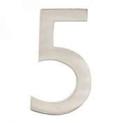 """Architectural Mailboxes 3582SN-5 Brass 4-Inch Floating House Number, Satin Nickel """"5"""""""