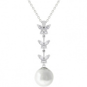 J Goodin P20041R-C84 White Gold Rhodium Bonded Pearl Pendant With a Pave Set Clear CZ Leaf Grasping a Tahitian Pearl in Silvertone