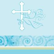 Creative Converting 190638 Faithful Dove Blue Plastic Tablecover