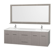 Centra 180cm . Double Vanity in Grey Oak with Man-Made Stone Vanity Top in White and Square Porcelain Under-Mounted Sinks