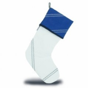 Sailorsbag Sailcloth Christmas Eve Decorative Hanging Stocking White with Blue Trim