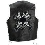 Diamond Plate Leather Vest With Skull - Size 3X