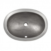 The Copper Factory Solid Hand Hammered Copper Oval Self Rimming Lavatory Sink in Satin Nickel Finish - CF153SN