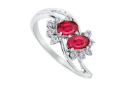 FineJewelryVault UBBM655WDR-101 Ruby and Diamond Ring : 14K White Gold - 2.00 CT TGW - Size