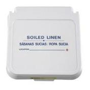R & B Wire 602SLB 30.5cm . x 10.2cm . Laundry Hamper Lid Label - Soiled Linen - Blue Lettering