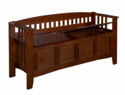 Linon Home Decor 85001WALZ-01-KD-U Storage Bench Short Split Seat Storage- Walnut Finish