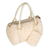 Blancho Bedding JY9682-WHITE Sweet Heart Cream Princess Double Handle Leatherette Handbag Shoulder Bag Satchel Bag Purse