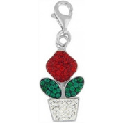 Doma Jewellery DJS01547 Sterling Silver and Crystal Charm - Flowerpot