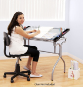 Studio Designs 13220 Folding Craft Station, Silver/Blue Glass