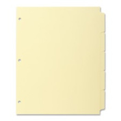 Business Source BSN16481 Plain Tab Indexes- 3HP- 8-Tab- 28cm .x8-.130cm .- Canary