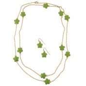 Zirconmania 610S-256LG-42G Goldtone Green Enamel Daisy Necklace and Earring Set