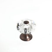 JVJHardware 36912 Pure Elegance 28mm - 1.13 in. - Octogon Faceted 31 Percent Lead Crystal Knob with Cap - Old World Bronze