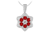 FineJewelryVault UBPD2953W14DR-101 Ruby and Diamond Pendant : 14K White Gold - 2.25 CT TGW
