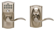 Schlage Satin Chrome Accent Entry Lever Keypad Lock FE595VCAM619ACC