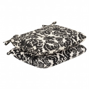 2-Piece Outdoor Seat Pad/Dining/Bistro Cushion Set - Black/White Floral