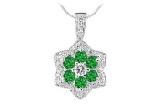 FineJewelryVault UBPD2953W14DE-101 Emerald and Diamond Pendant : 14K White Gold - 2.25 CT TGW