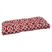 Pillow Perfect 498614 Outdoor New Geo Wicker Loveseat Cushion in Red - Red-White