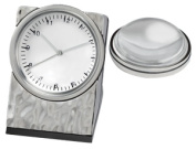 Chass 80938 Hammered Clock w/Magnifier - Silver