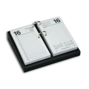 Dacasso A1031 Black Leather 4.5 in. x 8 in. Desktop Calendar Holder - Silver Bolts