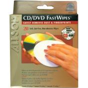 Allsop 50100 CD/DVD Fastwipes - 20 Lint-Free Pads