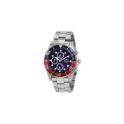 Invicta 1771 Mens Stainless Steel Pro DIver Quartz Chronograph Blue Dial Red and Blue Bezel