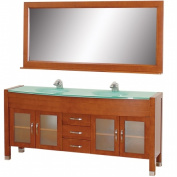 Wyhdham Collection WCV220071CHGR Daytona Cherry with Green Glass Top with Green Integral Sinks