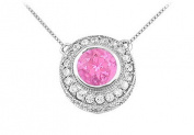 FineJewelryVault UBPD2510W14DPS-101 Pink Sapphire and Diamond Pendant : 14K White Gold - 0.66 CT TGW