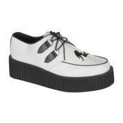 Demonia Creeper-430 2 Inch Platform White Leathertrucker Girl Creeper Shoe Size 6