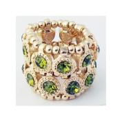 Zirconmania 610R-7624-GRE Goldtone Green Crystal 2-row Disc Stretch Fashion Ring