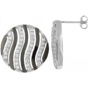 Doma Jewellery DJS01939 Sterling Silver (Rhodium Plated) Earring with CZ - 20mm Diameter