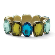 PalmBeach Jewelry 50411 Oval and Rectangular Blue and Green Lucite Goldtone Metal Antique-Finish Stretch Bracelet 7